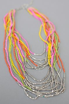 Seed bead necklace (orange,yellow,green,pink and silver)