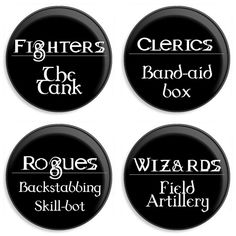 DnD Character Class Buttons by ThePaperCandyCo on Etsy, $4.00