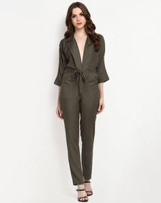 ,olive_jumpsuit ,pockets_at_front ,notch_lapel ,black_anklestrap_shoes ,deep_neck  http://www.stalkbuylove.com/heather-jumpsuit-SBLPR.html