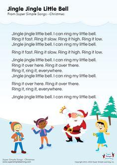 """Lyrics poster for """"Jingle Jingle Little Bell"""" Christmas song from Super Simple Learning. #kidssongs #kindergarten #ESL"""