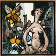 Adjugé 7 600 euros par l'HDV d'Avignon le 26 avril 2014 -  Claude VENARD (1913-1999) : Le nu. Huile sur toile signée en bas à droite. Dim. : 75x75 cm.