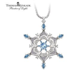 Thomas Kinkade Sterling Silver Sparkling Snowflake Pendant Necklace Jewelry Gift For Her by The Bradford Exchange ($119) found on Polyvore