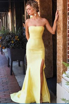 Yellow Mermaid Elegant Strapless Satin Long Prom Dresses With Slit – Okdresses Mermaid Style Prom Dresses, Mermaid Gown Prom, Strapless Prom Dresses, Prom Dresses Long With Sleeves, Elegant Prom Dresses, Cheap Prom Dresses, Dance Dresses, Satin Dresses, Sexy Dresses