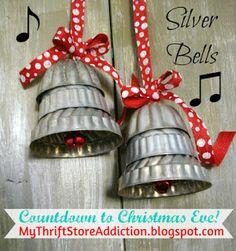 Mini jello molds repurposed as Christmas silver bells!