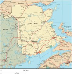 View and print the detailed New Brunswick map, which shows major roads and population centers, including the New Brunswick capital city of Fredericton. New Brunswick Map, New Brunswick Canada, Canada Tattoo, East Coast Road Trip, I Am Canadian, Prince Edward Island, Vacation Spots, City, Maps