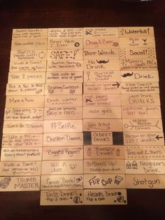 Jenga with a twist. Jenga with a twist. Jenga Drinking Game, Drinking Games For Parties, Jenga Game, Teen Party Games, Bachelorette Party Games, Sleepover Party, Drunk Jenga, Drunk Games, 21st Bday Ideas