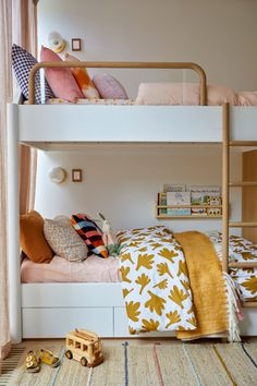 The girls' bedroom is an eclectic mix of colours and prints, with a mini bookshelf include. Girls Bedroom, Bedroom Decor, Bedrooms, Big Girl Rooms, Kid Spaces, Kids Room, Loft, House Design, Interior Design