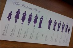 Wedding program silhouette of wedding party