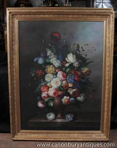 Photo of Large Dutch Floral Oil Painting Still Life Flowers Gilt Frame