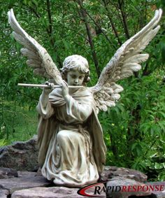 Cherub Angel Statue  playing flute