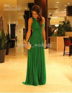 Wholesale ZED-317 Emerald green a line one shoulder chiffon floor length formal evening dress gown, Free shipping, $89.6~109.76/Piece | DHgate Mobile