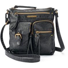 Stone & Co. Smoky Mountain Crossbody Bag ($39) ❤ liked on Polyvore featuring bags, handbags, shoulder bags, black, faux leather crossbody, tassel handbags, vegan handbags, zipper shoulder bag and zip purse