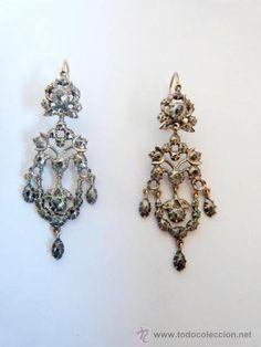 Pendientes s.XVIII realizados en plata , oro y diamantes naturales - Foto 1
