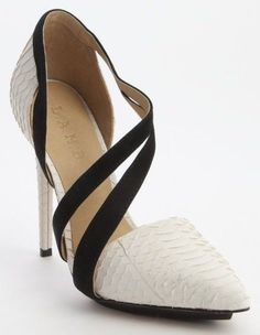 White And Black Snake Embossed Leather And Suede Pumps