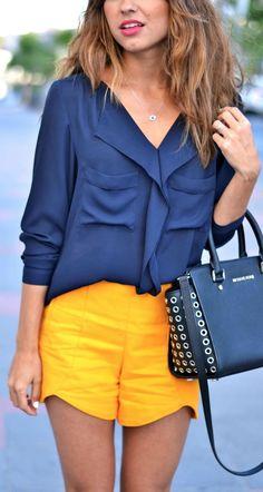 Zara Navy Chiffon Ruffled Collar Blouse by Just Coco