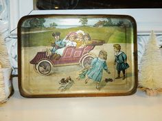 Antique Lithograph Doll Toy Tea Set Tin Tray with Terrier Automobile Children