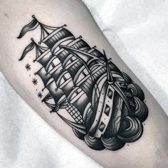 Old School Traditional Coolest Small Sailing Ship Arm Tattoos For Men
