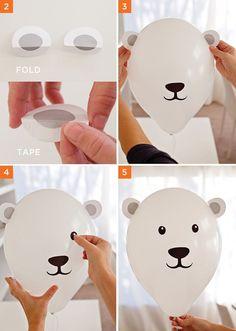 DIY Polar Bear Balloons Tutorial