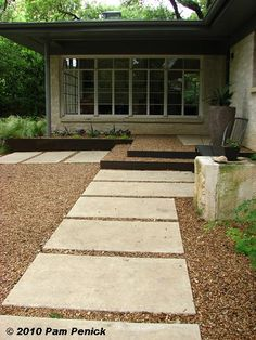 Austin Landscape Architect Christy Ten Eyck's home - steel planter, steel frame and decomposed granite steeps, floating concrete pads, limestone..... love it all