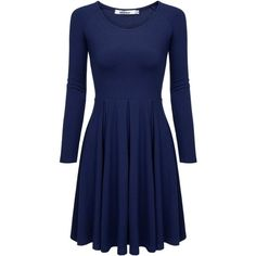 Meaneor Women's Plus Size Long Sleeve Tunic Top, Loose Flare Hem Dress... ($18) ❤ liked on Polyvore featuring tops, tunics, loose fitting tops, blue tunic, womens plus size tunics, navy blue top and plus size tunics