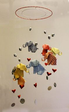 Origami Elephants on a Spiral 8 x Elephants, Lucky Hearts and Stars, and penny sequins £30