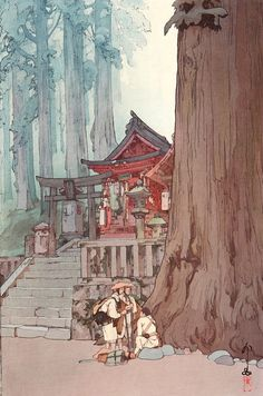 "Japanese Art Print ""Misty Day in Nikko"" by Yoshida Hiroshi, woodblock print reproduction, shrine, cu Japan Illustration, Botanical Illustration, Japanese Graphic Design, Japanese Prints, Hiroshi Yoshida, Misty Day, Art Asiatique, Art Japonais, Dungeons And Dragons"