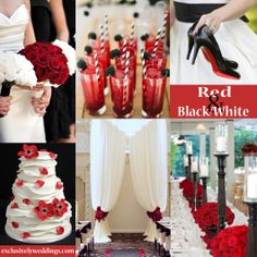 Black and White with Red Wedding Colors | #exclusivelyweddings