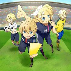 Oliver, Len, Rin and Yohioloid playing soccer! That Yohio tho o///o Kagamine Rin And Len, Kaito, Hatsune Miku, Aoki Lapis, Gakupo Kamui, Vocaloid Funny, Manga Anime, Anime Art, Vocaloid Characters