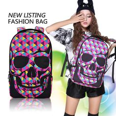Find More Casual Daypacks Information about New coming,2014 fashion men and women school backpack, high quality canvas backpack skull printing with zipper design BBP306 ,High Quality printed silk chiffon fabric,China print bandana Suppliers, Cheap printing demand from Culture Clubs on Aliexpress.com