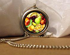 Fresh Fruits Art Necklace, Fruit Pendant, Fruits Necklace, Fresh Fruit, Colorful Fruit Artwork, Art Pendant, Floating Charm, Fantasy Pendant by NanaFantasyJewelry on Etsy