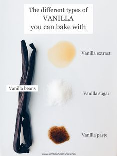There are so many different types of vanilla products you can bake with, from vanilla beans to extract, paste to sugar, and even vanilla powder. Find out everything you need to know about baking with vanilla, alternatives, how to make extract at home, how to use the beans, and more! Baking Basics, Baking Tips, Baking Hacks, Vanilla Paste, Vanilla Sugar, Homemade Vanilla Extract, Vanilla Flavoring, High Fiber Cereal, Baking Science