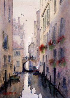 Venice backstreet canal watercolor painting by Joe Cartwright