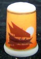 New w Box  Limoges France Porcelain Thimble Dhow Sailboats