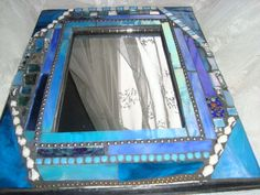 MOSAIC MIRROR  Shades of Blue Home Decor Wall by victoriacharlotte