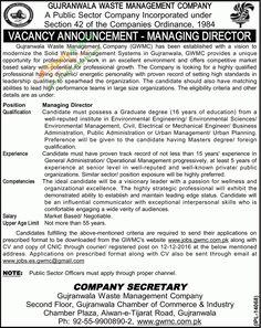 Managing Director Jobs In Bahawalpur Waste Management Company