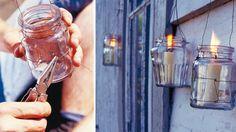 Eigene Deko in wenigen Schritten selbst gemacht: Windlicht für die Terrasse aus Einmachglas mit Drahtaufhängung