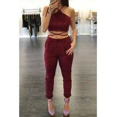 trendsgal.com - Trendsgal Spaghetti Strap Criss Cross Lace Up Crop Top and Pants Suit For Women - AdoreWe.com