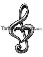 Treble Clef Heart temporary tattoo
