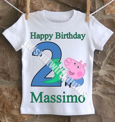 An adorable George Pig (from Peppa Pig) birthday shirt personalized with your child's name and age. All shirts are 100% cotton.  I use a professional heat press