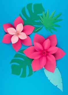Printable - Fleurs tropicales en papier - My Little Day Flower Crafts, Diy Flowers, Flower Decorations, Origami Flowers, Flamingo Birthday, Flamingo Party, Sticker Printable, Free Printable, Diy Fleur