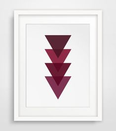 Geometric Print Burgundy Red Maroon Triangle by MelindaWoodDesigns