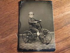 RARE 1800's Little Boy on Tricycle Tintype Photograph | eBay