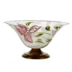 Hand-painted Murano Flower Pedestal Bowl