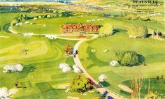 Vue aérienne de l'hôtel du Golf construit par Georges Wybo et E. Lecompte en 1928-1929. Autour de l'hôtel, dont le rez-de-chaussée servait de club-house, les deux parcours étaient dessinés par le spécialiste britannique Simpson. L'aquarelle, en couverture d'une plaquette publicitaire de 1929, est signée d'André Lagrange. Né à Paris en 1889, André Lagrange était le frère de Maurice Lagrange, chef d'agence de Georges Wybo. On lui doit les fresques de 1928 qui décorent les casinos de Trouville