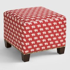 World Menagerie Fukuoka Square Nail Button Ottoman Upholstery Color: Ketchup Eclectic Furniture, Cool Furniture, Living Room Furniture, Modern Furniture, Ottoman Furniture, Furniture Outlet, Online Furniture, Fabric Ottoman, Upholstered Ottoman