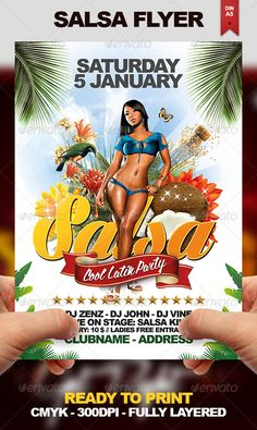 Salsa Flyer #GraphicRiver This flyer design can be used for any kind of party or any nightclub event. You are able to play with the colors, text and elements to get unique results to suit your taste. Format is DIN-A5 with 0,25 inch bleed. Print size: 5.83×8.27 inches /// 210×148 mm. PURCHASE INCLUDES: • 1 Fully layered PSD File Labeled & Organized in Folders • 1 Help File - Font Lighthouse: .dafont /lighthouse2.font - Font God Bless America: .dafont /god-bless-america.fon...
