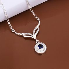 925 Sterling Silver Round Blue Stone Crystal Necklace