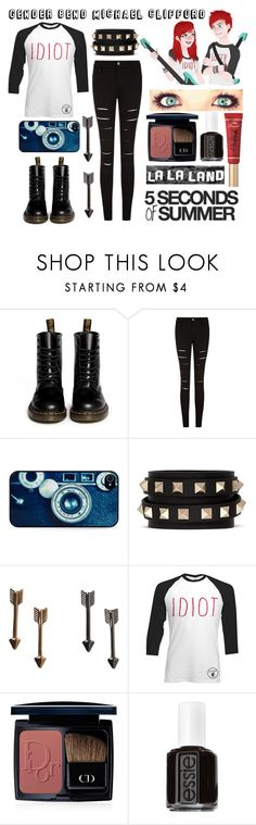 """""""Gender bend Michael Clifford"""" by abigail-rodriguez22 ❤ liked on Polyvore featuring Dr. Martens, BlissfulCASE, Valentino, Monki, Christian Dior, Essie and Too Faced Cosmetics"""