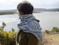 chunky faded denim blue cotton cable knit hope scarf. $55.00, via Etsy.
