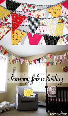Sewing Tips Helpful Hints Fabric bunting tutorial. Make this charming bunting for a shower, home decor, wedding, or nursery decoration. It's such a cute DIY craft! Sewing Basics, Sewing Hacks, Sewing Tips, Decor Crafts, Diy And Crafts, Home Decor, Sewing Classes For Beginners, Bunting Tutorial, Diy Tutorial